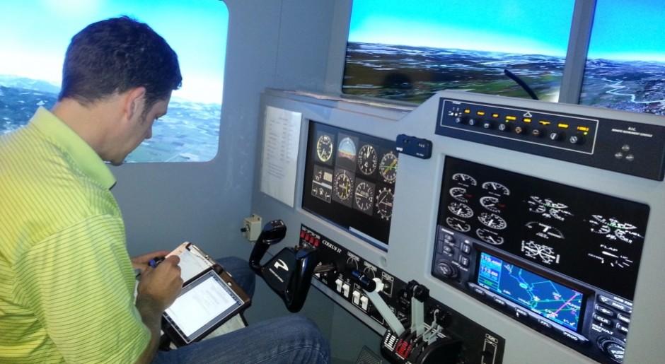 Guy Ridler in the simulator